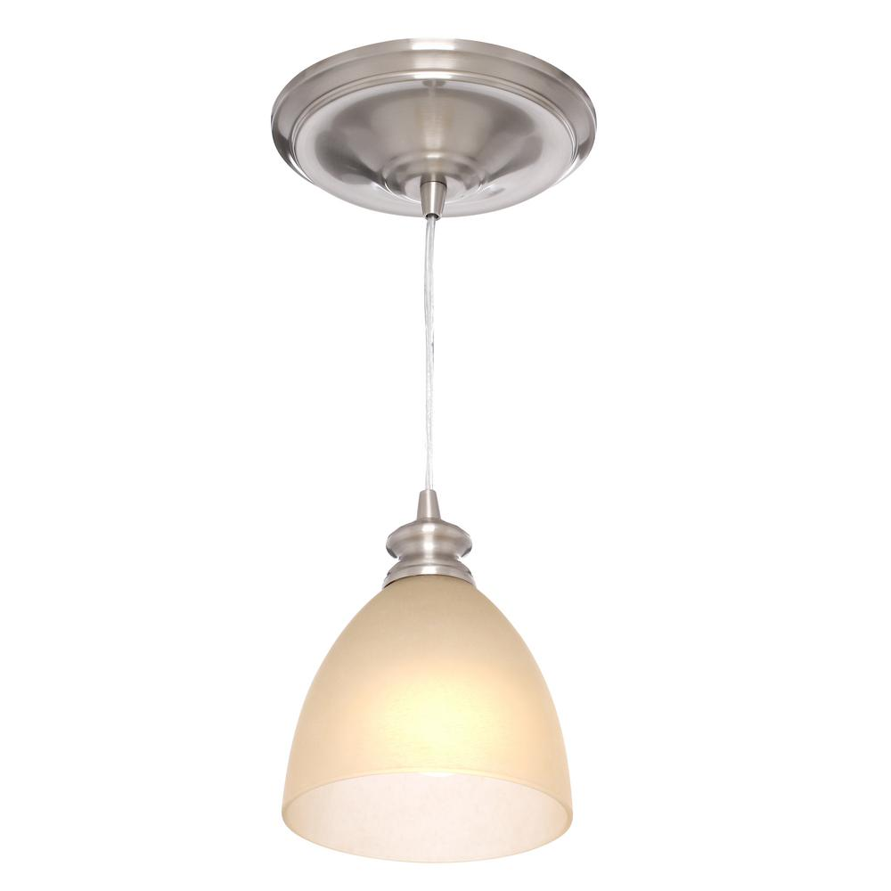 Worth Home Products Instant Pendant 1 Light Recessed Conversion Kit Brushed Nickel Parchment Gl Shade