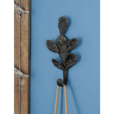 5 in. W x 10 in. H Rusted Brown Iron Cactus Wall Hook