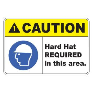 Rectangular Plastic Caution Hard Hat Required Safety Sign by