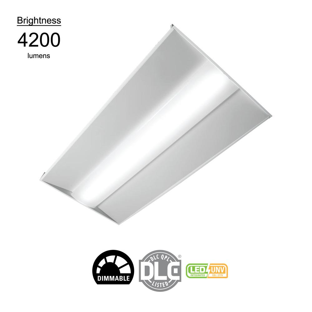 x 4 ft 2 ft White Integrated LED Lay-In Troffer with white acrylic Lens
