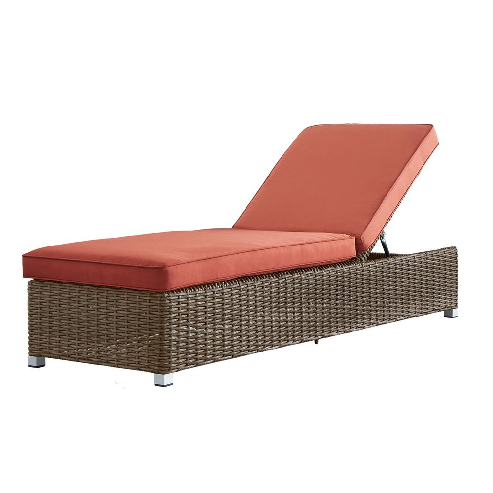 HomeSullivan Camari Mocha Wicker Adjustable Outdoor Chaise Lounge Chair  With Red Cushion