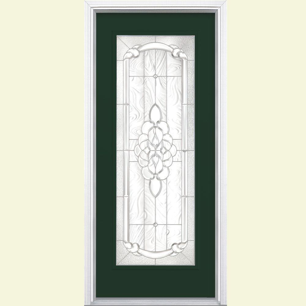 Masonite 36 in. x 80 in. Oakville Full Lite Conifer Left Hand Painted Smooth Fiberglass Prehung Front Door w/ Brickmold