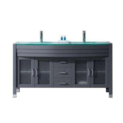 Ava 63 in. W x 22 in. D Double Vanity in Gray with Glass Vanity Top in Aqua with Aqua Basin with Chrome Faucet
