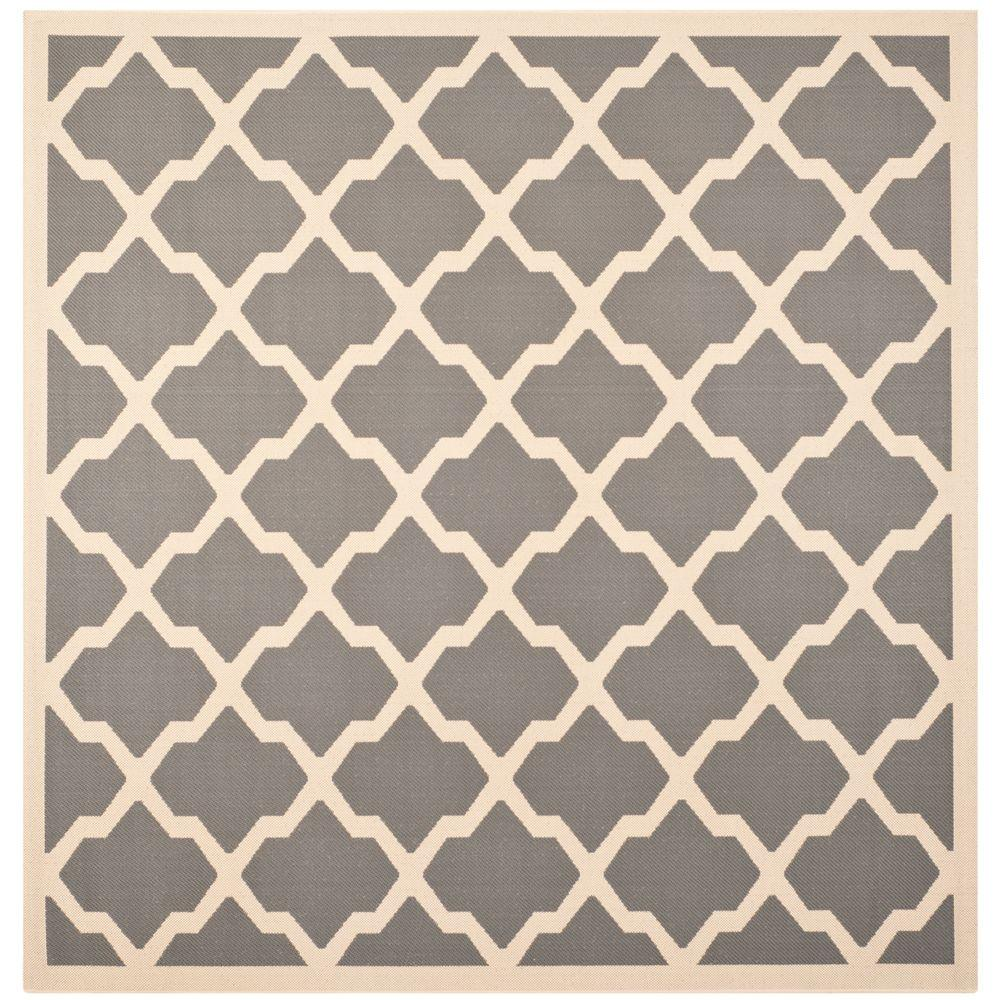 Safavieh Courtyard Anthracite/Beige 7 ft. 10 in. x 7 ft. 10 in. Indoor/Outdoor Square Area Rug