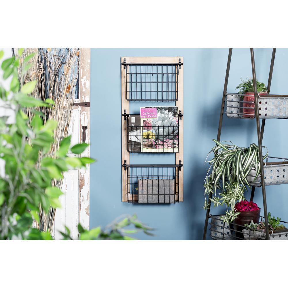 Black Iron 3-Tier Wire Basket Wall Rack
