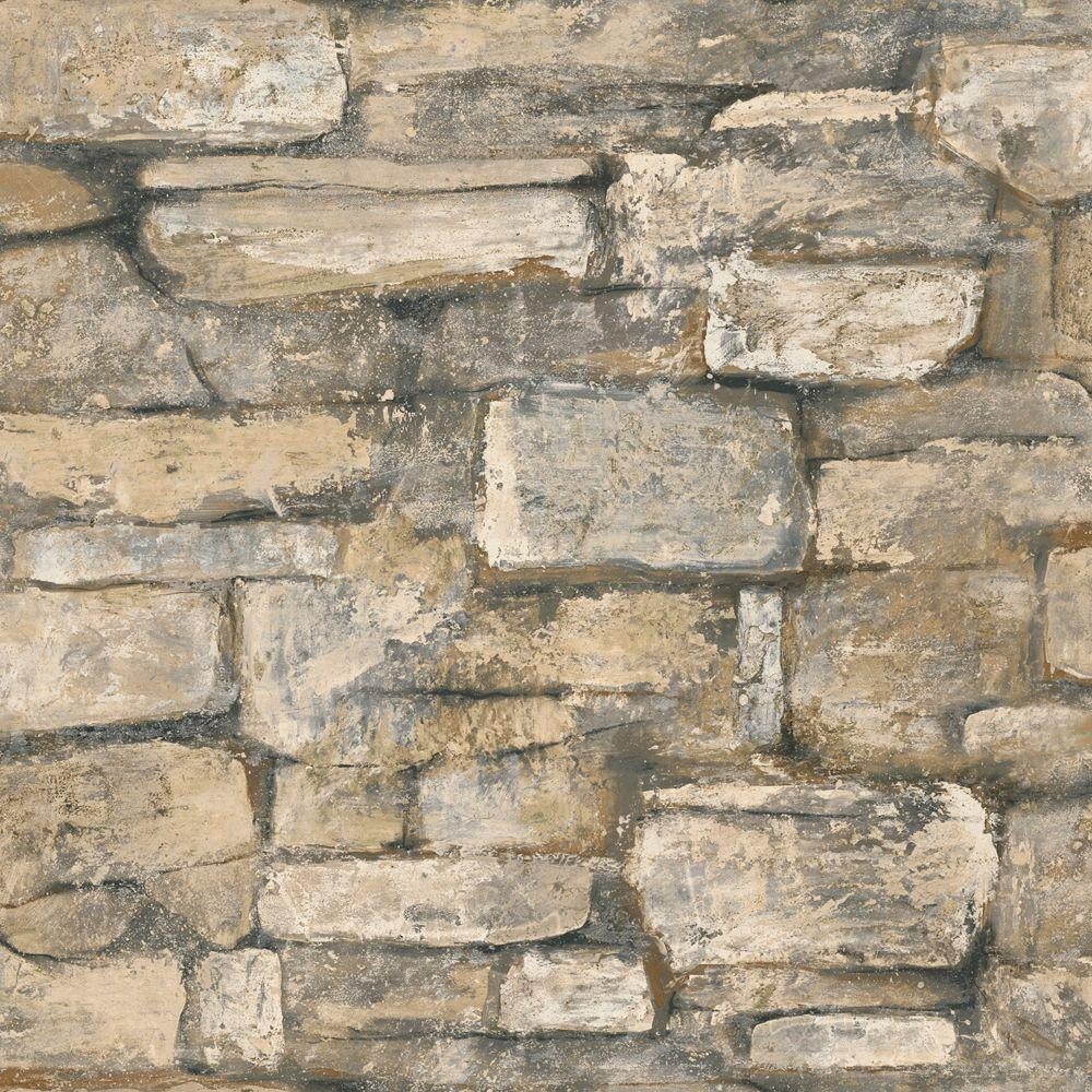 The Wallpaper Company 56 sq. ft. Natural Field Stone Wallpaper