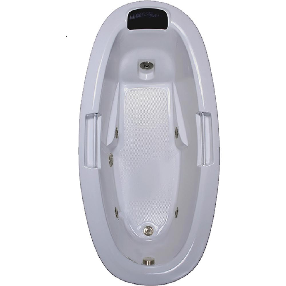 Comfortflo 72 in. Acrylic Oval Drop-in Whirlpool Bathtub ...