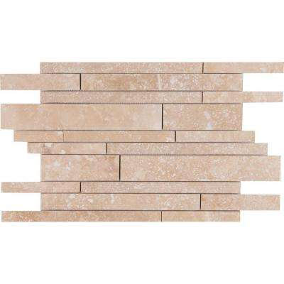 Ivory Travertine Interlocking 12 in. x 18 in. x 10mm Honed Travertine Mesh-Mounted Mosaic Tile (15 sq. ft. / case)