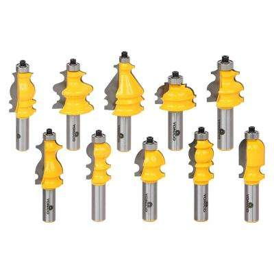 Architectural Molding 1/2 in. Shank Carbide Tipped Router Bit Set (10-Piece)