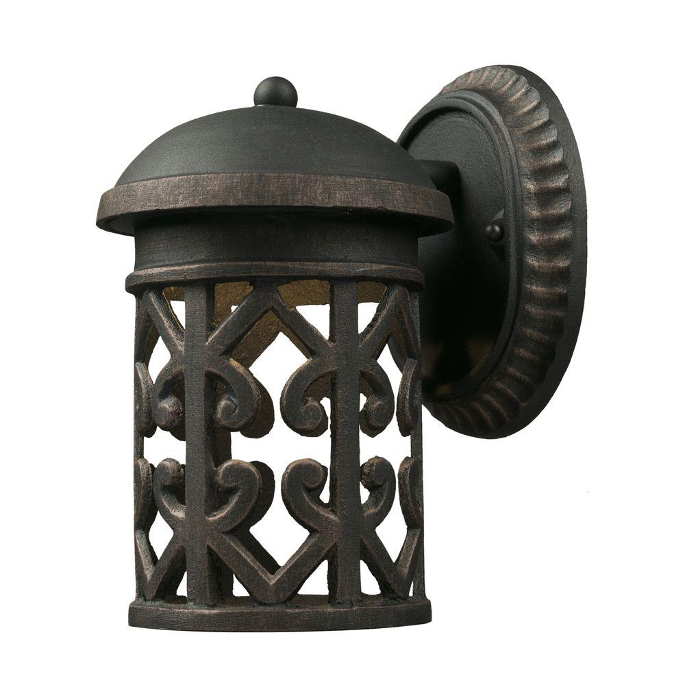 Titan Lighting Tuscany Coast 1-Light Brass and Gold Outdoor Sconce