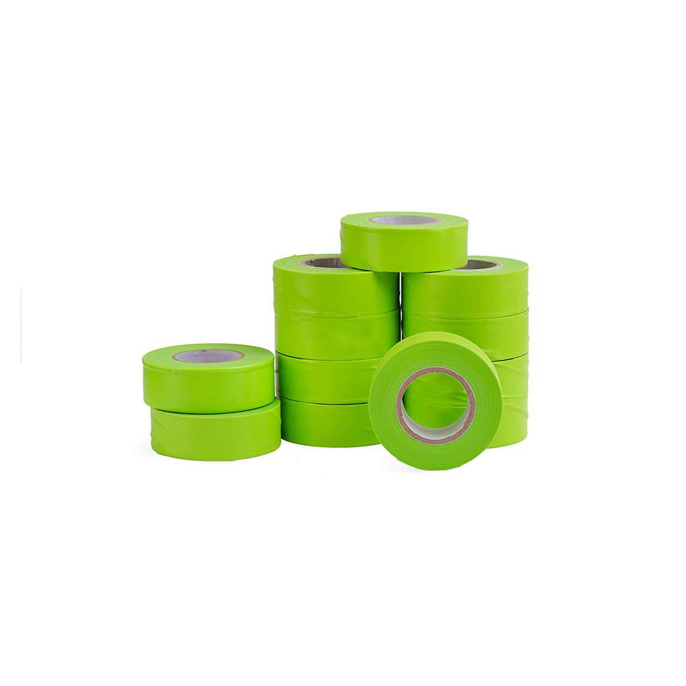 AdirPro 1 in. x 150 ft. Fluorescent Lime Flagging Tape (12-Pack)