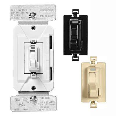 AL Series 300-Watt All Load 3-Way and Single Pole Toggle Dimmer with Preset Color Kit, Black/White/Ivory