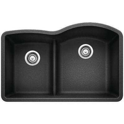 DIAMOND Undermount Granite Composite 32 in. 40/60 Double Bowl Kitchen Sink with Low Divide in Anthracite