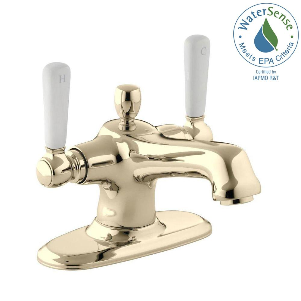 KOHLER Bancroft 4 in. 2-Handle Mono Block Design Bathroom Faucet in Vibrant French Gold with Escutcheon