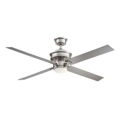 Lincolnshire 60 in. LED Brushed Nickel Ceiling Fan with Light and Remote Control works with Google and Alexa