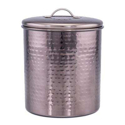 "4 Qt. ""Black Pearl"" Stainless Steel Hammered Storage Canister with Fresh Seal Cover"