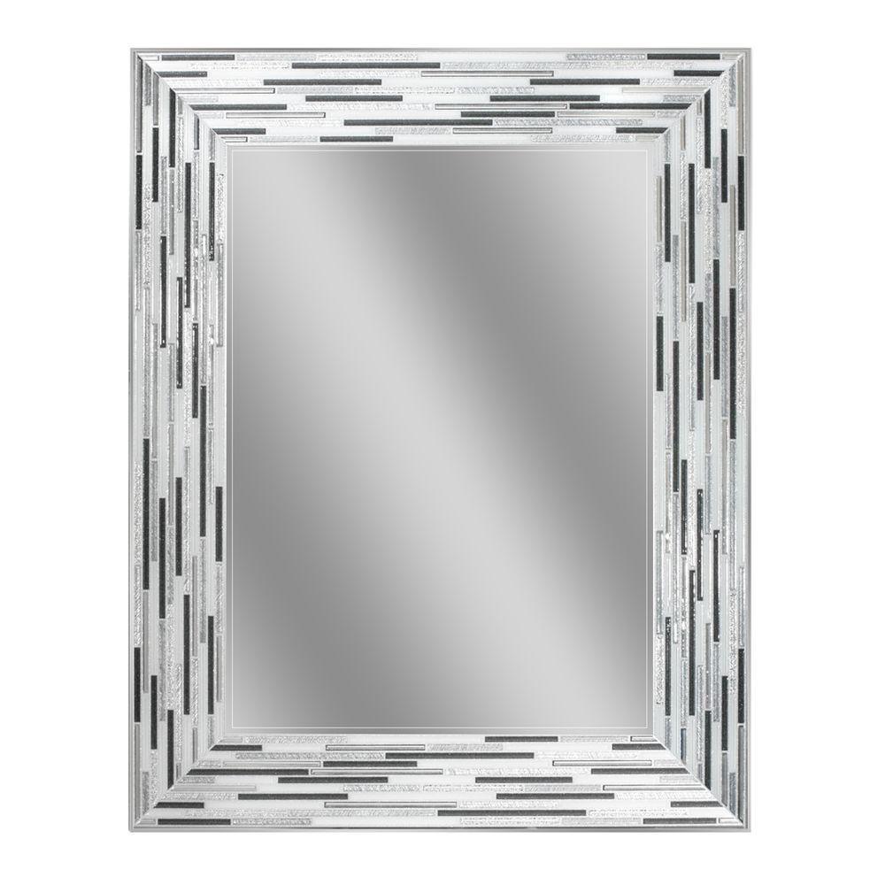 24 x 30 mirror Deco Mirror 30 in. L x 24 in. W Reeded Charcoal Tiles Wall Mirror  24 x 30 mirror