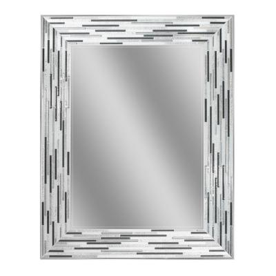 30 in. L x 24 in. W Reeded Charcoal Tiles Wall Mirror
