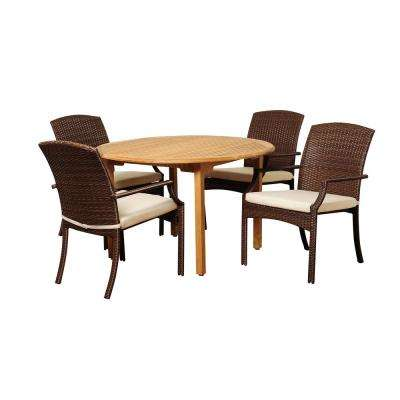 Vincenzo 5-Piece Wood Outdoor Dining Set with Beige Cushions