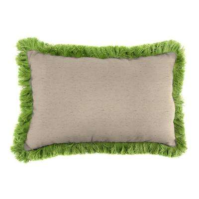Sunbrella 19 in. x 12 in. Frequency Sand Outdoor Throw Pillow with Gingko Fringe