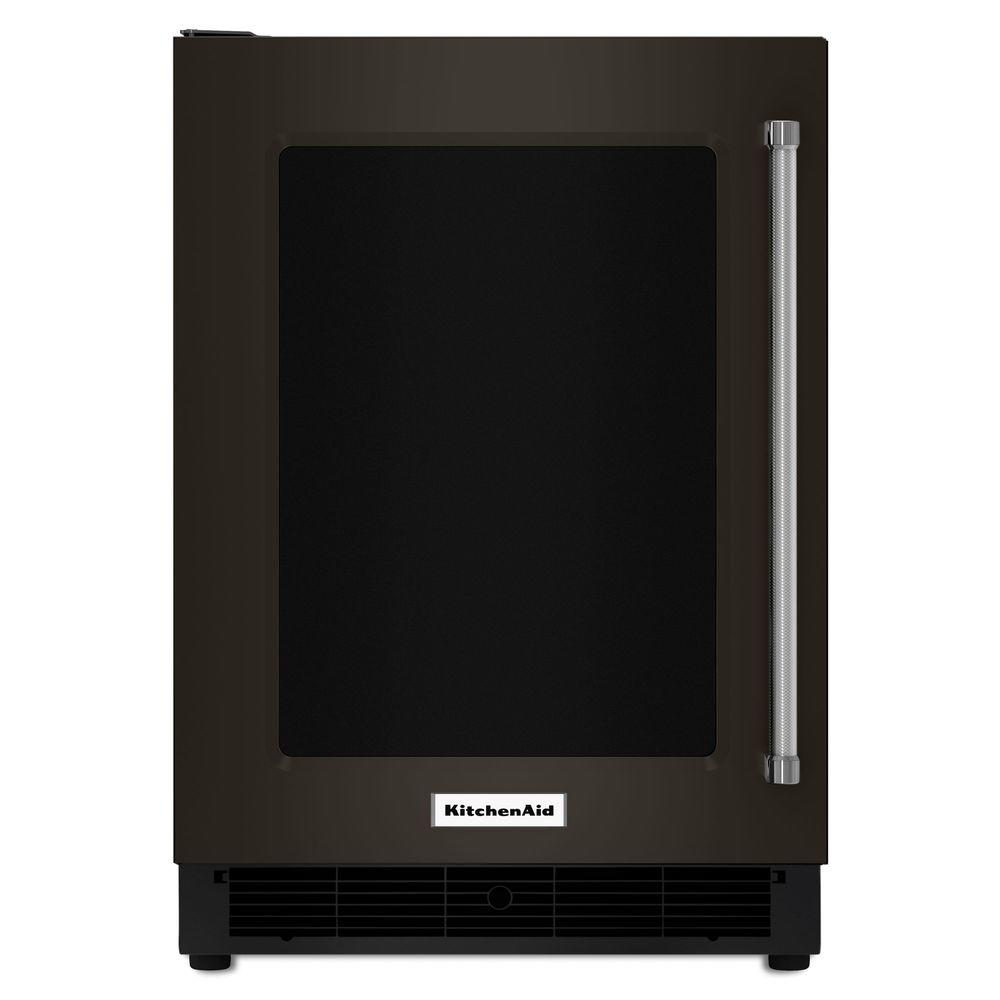KitchenAid 5.1-cu ft Built-In/Freestanding Mini Fridge (Black Stainless with Printshield) Stainless Steel | KURL304EBS