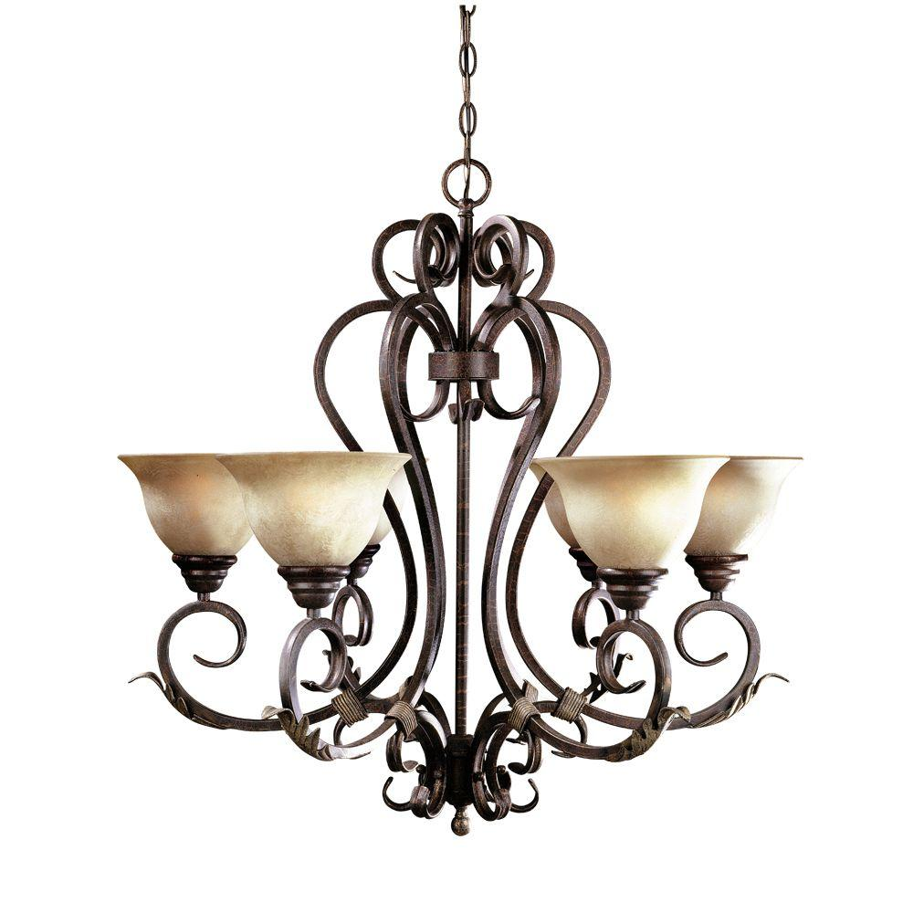 World Imports Olympus Tradition Collection 6-Light Crackled Bronze and Silver Chandelier with Tea-Stained Glass Shades-WI262424 - The Home Depot  sc 1 st  The Home Depot & World Imports Olympus Tradition Collection 6-Light Crackled Bronze ... azcodes.com