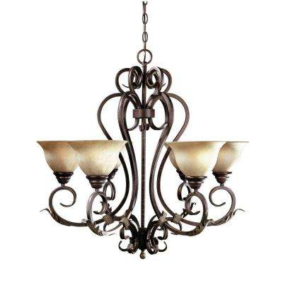 Olympus Tradition Collection 6-Light Crackled Bronze with Silver Chandelier