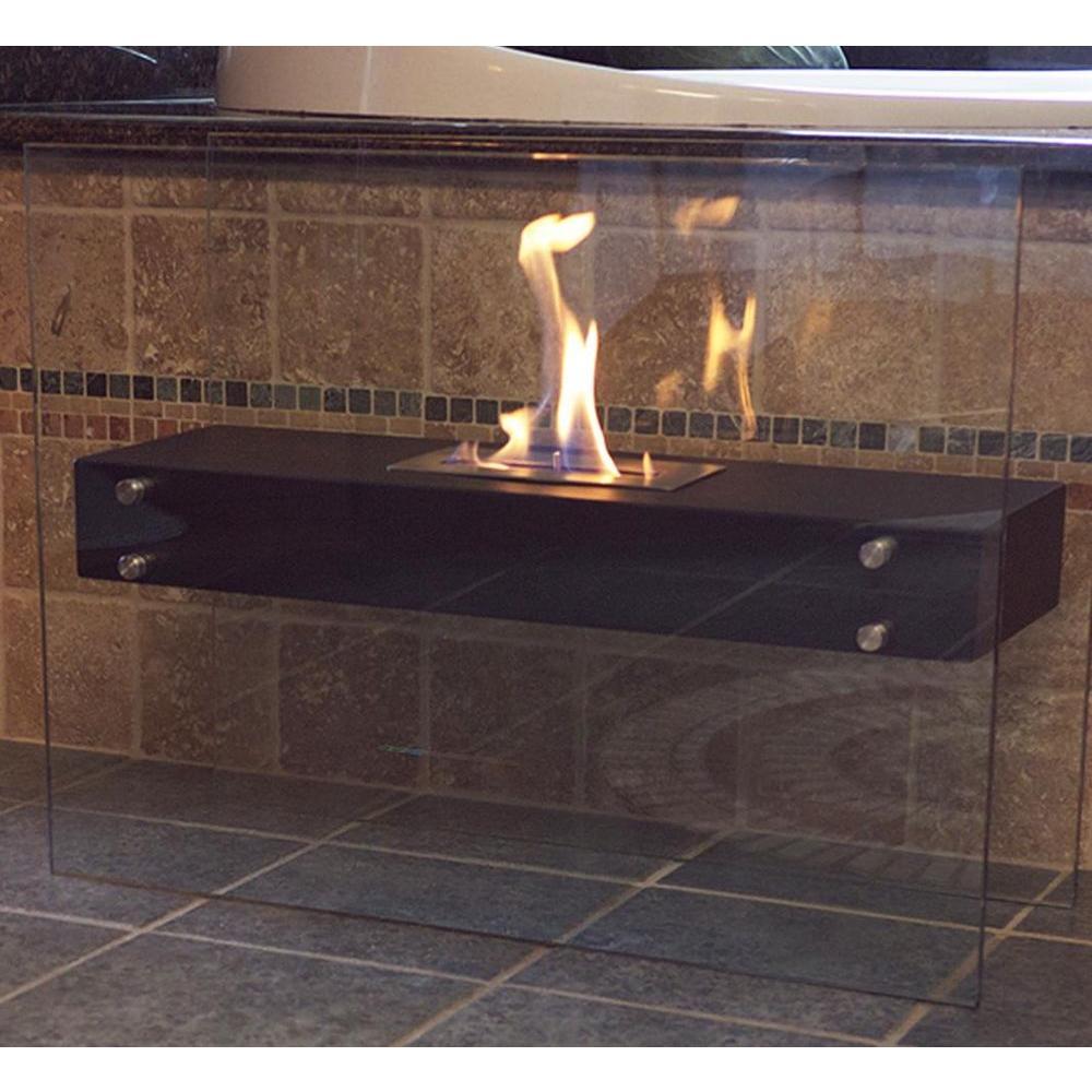 La Strada 31.5 in. Freestanding Decorative Bio-Ethanol Fireplace in Matte Black