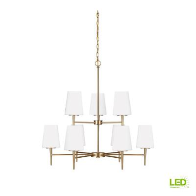 Driscoll 9-Light Satin Brass Chandelier with LED Bulbs
