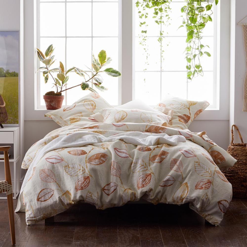 Textured Leaf Multicolored Linen King Duvet Cover