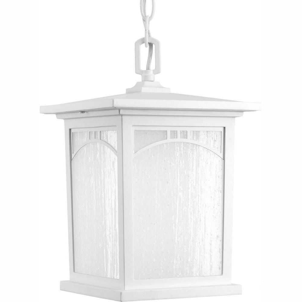Progress Lighting Residence Collection 1-Light Outdoor Textured White LED Hanging Lantern