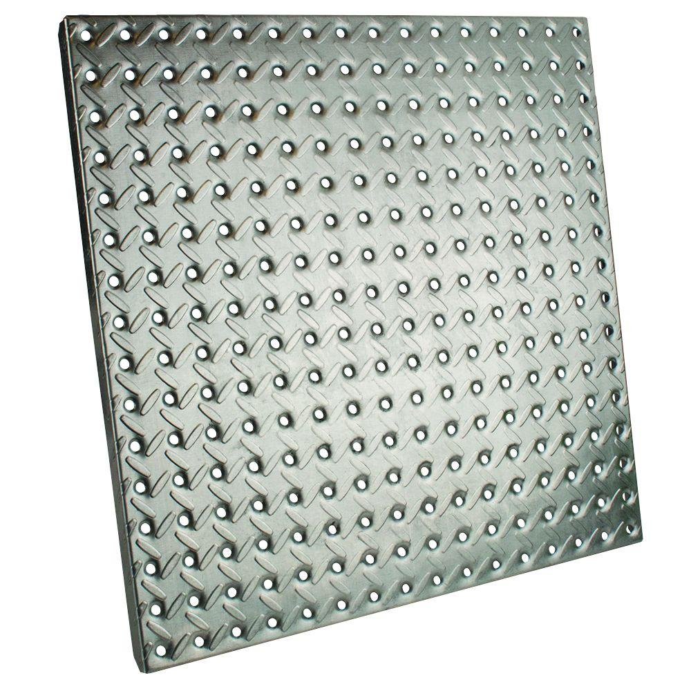 16 in. x 16 in. Galvanized Pegboard with Diamond Plating