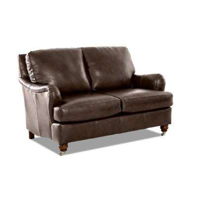 Charlotte Leather Loveseat in Chestnut