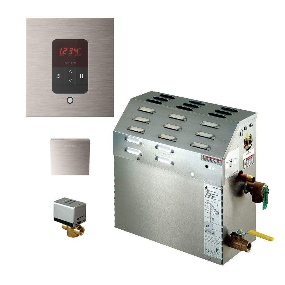 9kW Steam Bath Generator with iTempo AutoFlush Square Package in Brushed