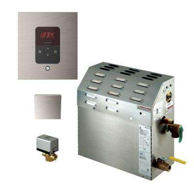 9kW Steam Bath Generator with iTempo AutoFlush Square Package in Brushed Nickel