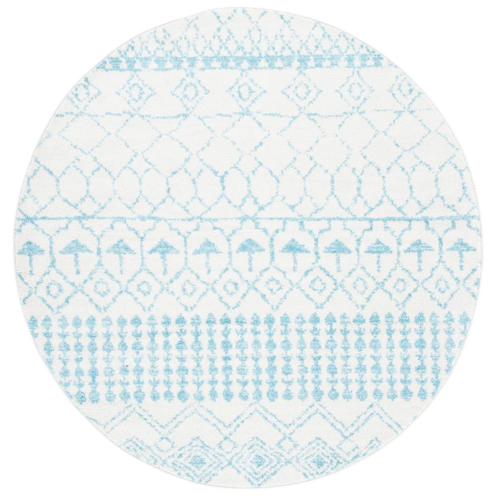 Safavieh Tulum Ivory Turquoise 7 Ft X 7 Ft Round Area Rug Tul229p 7r The Home Depot