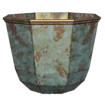 15 in. Patina Copper Shaina Resin Planter