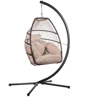 Black Wicker Egg-Shaped Patio Swing Chair with Brown Cushion