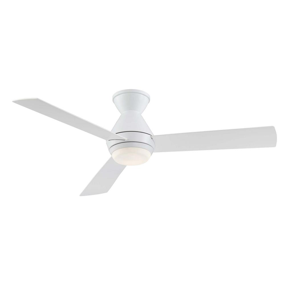 Home Decorators Collection Emery 56 in. LED Glossy White Ceiling Fan with Remote Control