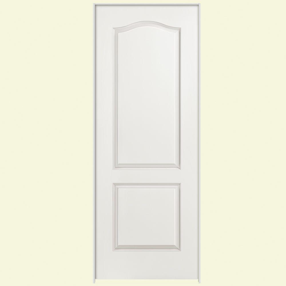Masonite 30 in. x 80 in. Solidoor 2-Panel Arch Top Solid-Core Smooth Primed Composite Single Prehung Interior Door