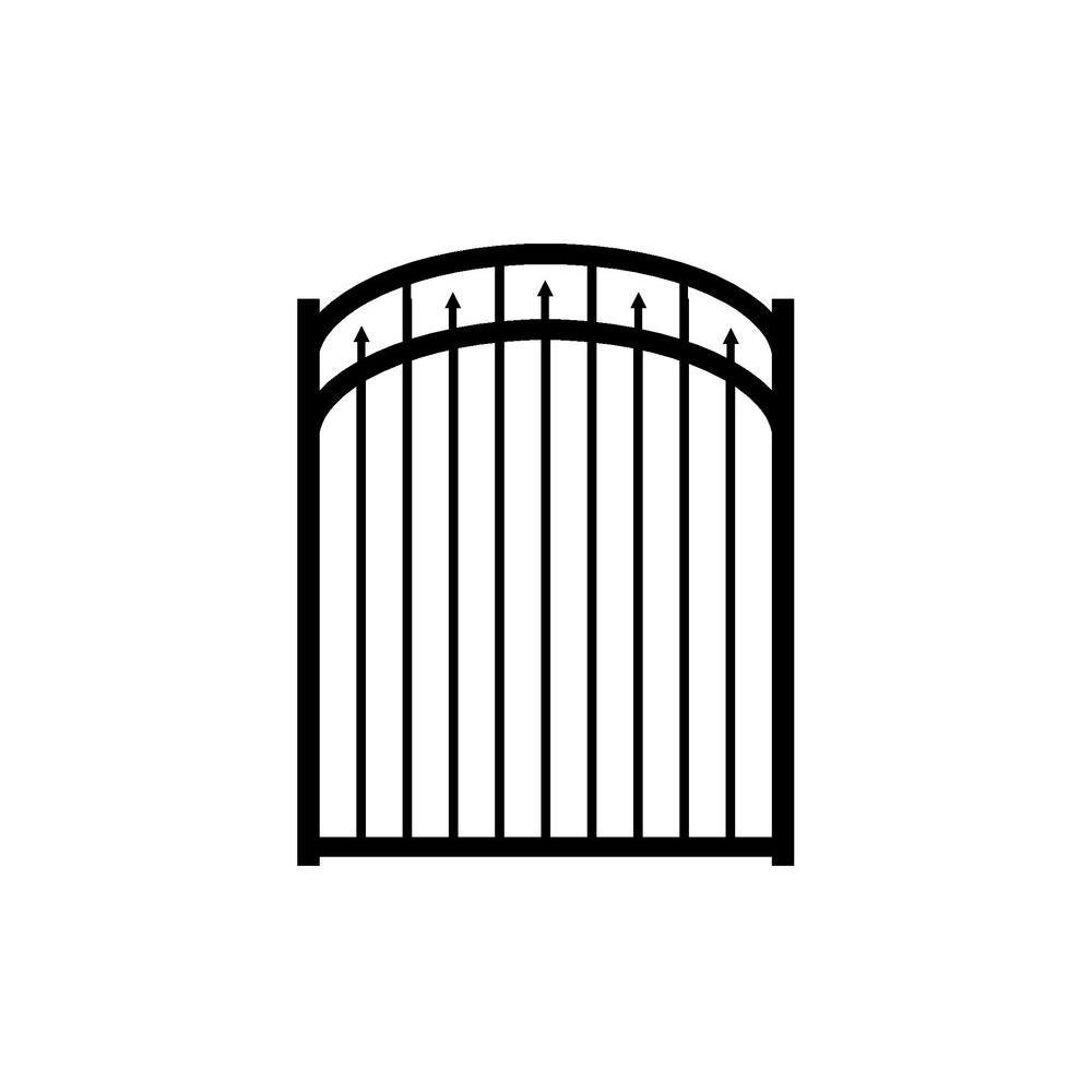 Adams 4 ft. W x 5 ft. H Black Aluminum 3-Rail Arched Fence Gate