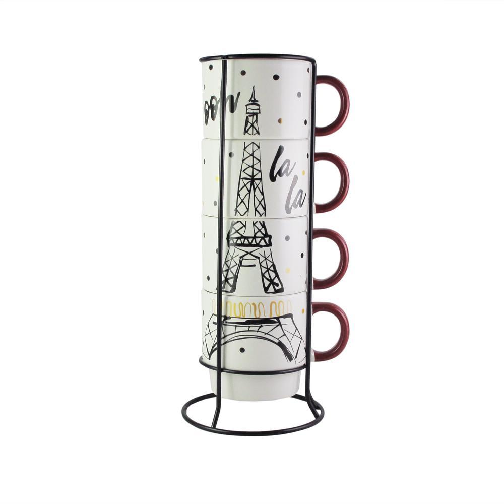 American Atelier 14 oz. Multi-Colored Ceramic Eiffel Tower Coffee Mugs with