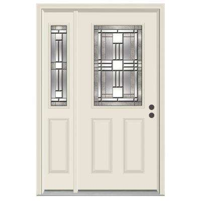 52 in. x 80 in. 1/2 Lite Cordova Primed Steel Prehung Left-Hand Inswing Front Door with Right-Hand Sidelite