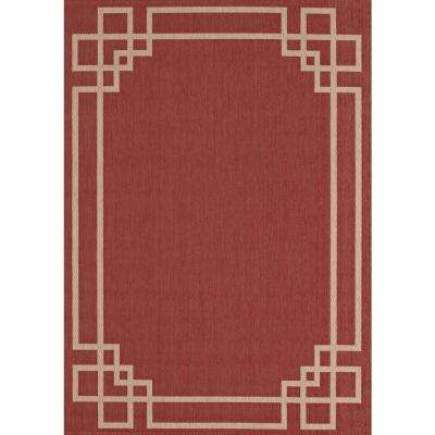 Greek Key Border Red/Tan 8 ft. x 10 ft. Indoor/Outdoor Area Rug