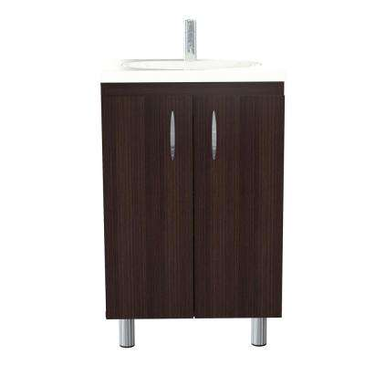 18.89 in. W x 14.96 in. D Bathroom Vanity in Espresso-Wengue with White Vanity Top and White Basin