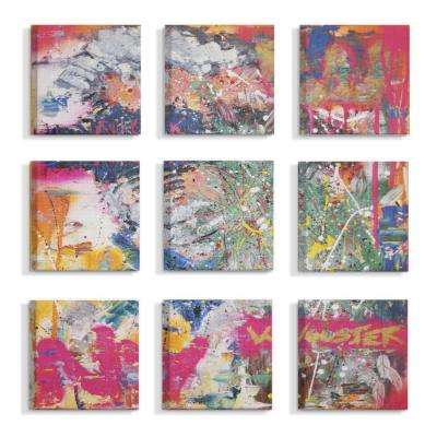 "12 in. x 12 in. ""Colorful Paint Splatter Art Graffiti Painting"" by Mr. Wooster Canvas Wall Art (9-Piece)"