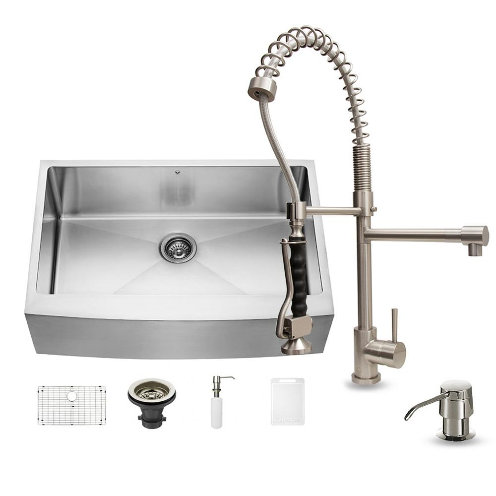 VIGO All In One Farmhouse Apron Front 33 In. 0 Hole Single Bowl Kitchen Sink  And Faucet Set In Stainless Steel VG15087   The Home Depot