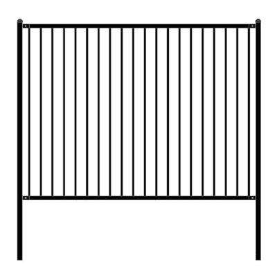 Lyon Style 6 ft. x 8 ft. Black Unassembled Steel Fence Panel