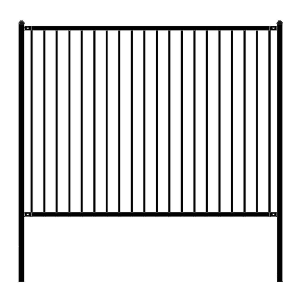 Lyon Style 6 ft. x 8 ft. Black Unassembled Steel Fence Panel