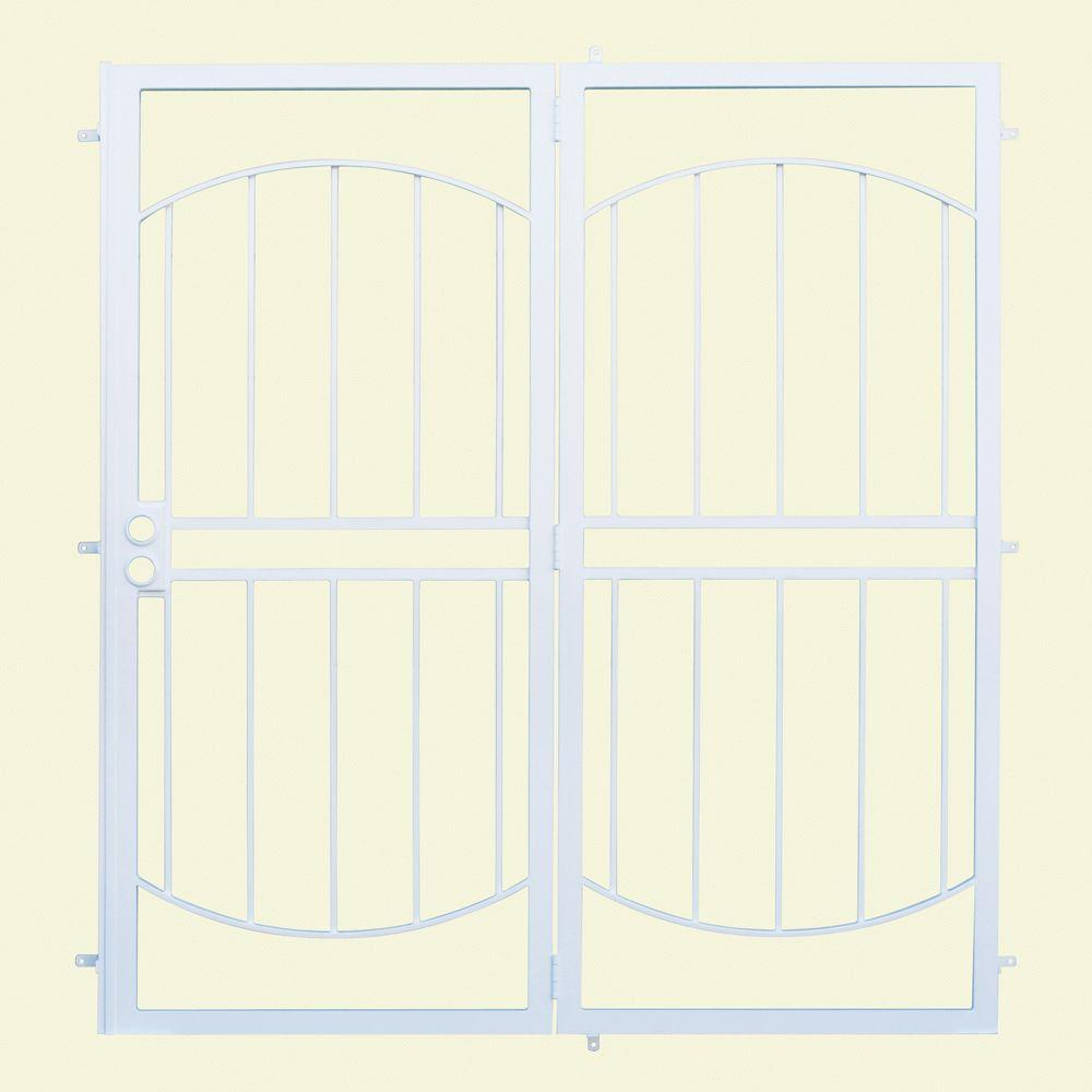Unique Home Designs 72 in  x 80 in  Arcada White Projection Mount Outswing  Steel Patio Security Door with No Screen